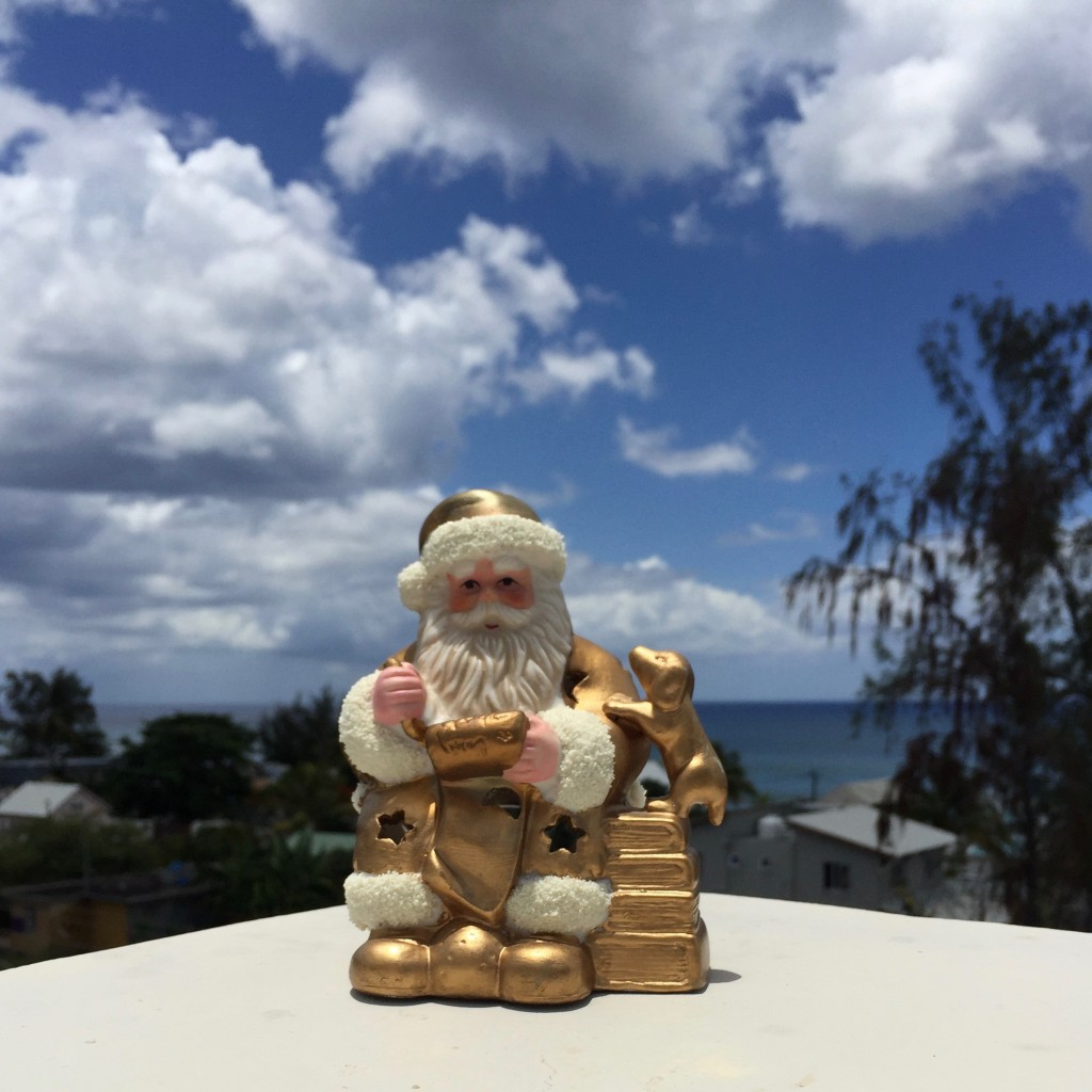 Nice to have Santa Claus, purchased in Strasbourg, France, for 34 Francs many years ago, up on the balcony!